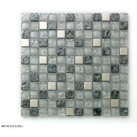 Mosaico in vetro MIX SILVER