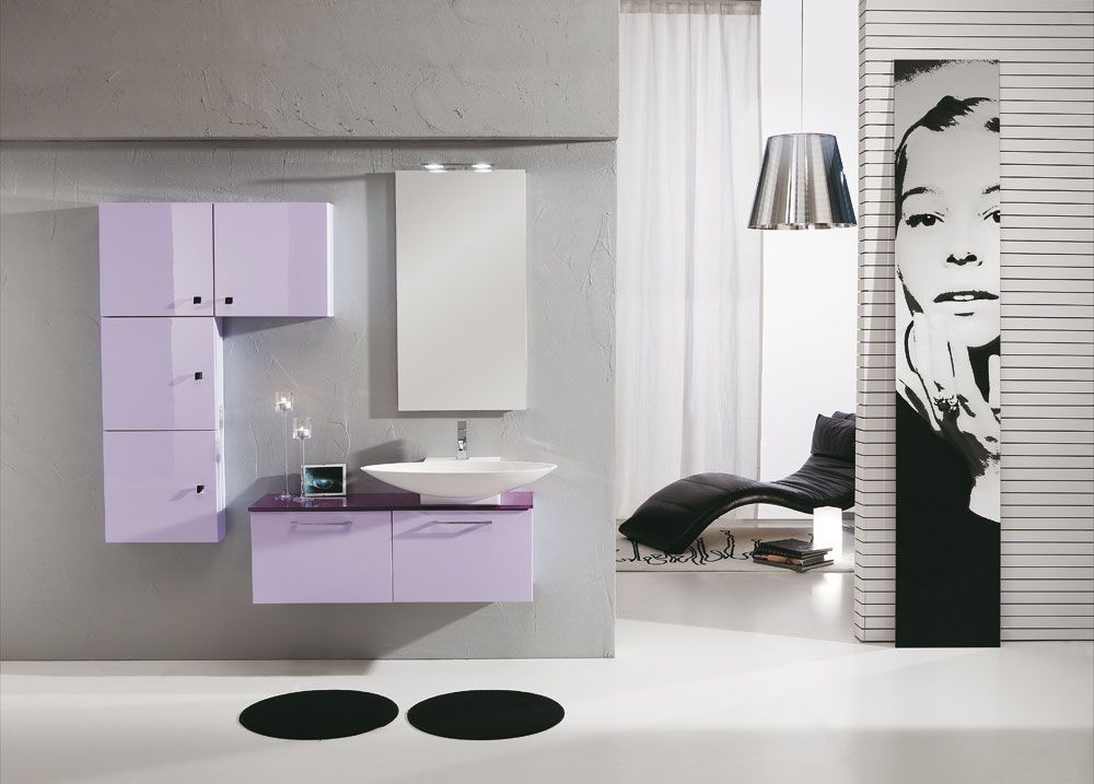Mobile Bagno Lilla : Mobile bagno sospeso lilla lucido